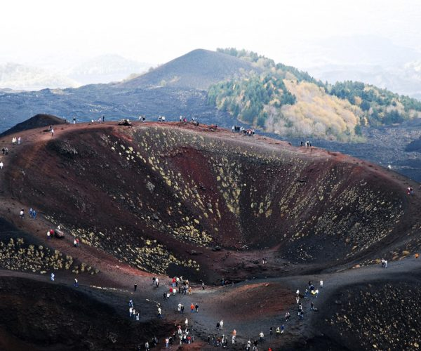 Path over the volcano crater,Mount Etna. East coast of Sicily, Italy (close to Messina and Catania).